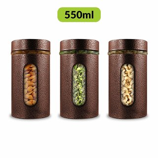 Home Puff Premium Airtight Glass Canisters Set 550ML 3-Piece (Copper)