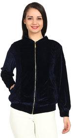 Raabta Fashion Navy Velvet Full Sleeves Casual Jackets For Women