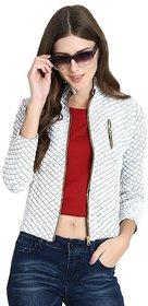 Raabta White Fleece Quilted Jacket
