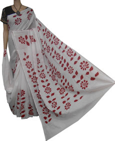 boutique saptaparni cotton silk hand batick print saree