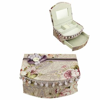 AVMART Purple Floral Fabric Wood Cosmetic, Makeup, Jewellery, Storage Travel Organizer Vanity Box, Gift, Home Decor