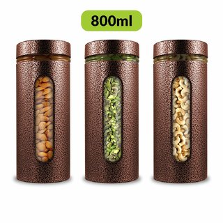 Home Puff Premium Airtight Glass Canisters Set 800ML 3-Piece (Copper)