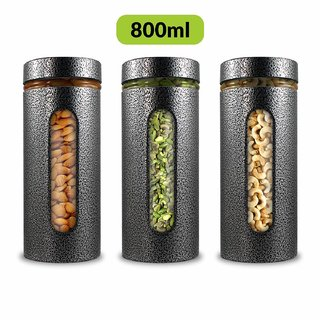 Home Puff Premium Airtight Glass Canisters Set 800ML 3-Piece (Silver)