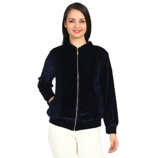 Raabta Fashion Navy Velvet Full Sleeves Casual Jackets For Women