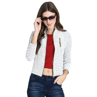 Raabta White Fleece Quilted Jacket