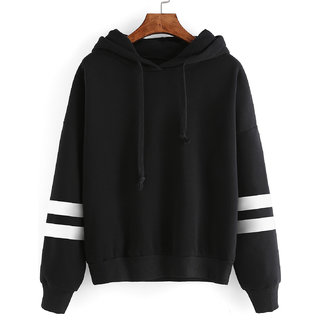 Raabta Black Sweetshirt with Strip Sleeve Hoodes