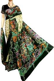 boutique saptaparni cotton silk hand batick malmal with blouse pices