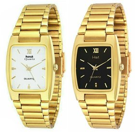 HWT Rectangle Black And White Dail Golden Metal Watches