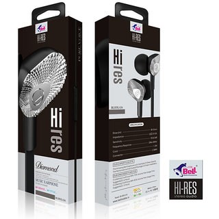 Bell Earphone Hi-Res Pure Voice In-line Remote Control Wired Headset 3.5mm with mic (Black - BL636)