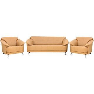 houzzcraft edo (3+1+1) sofa set in beige