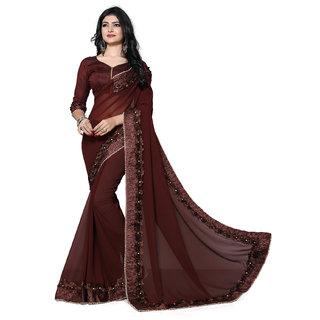 7136047c0da31 Buy Pratham Blue Designer Brown Georgette Gotta Patti Saree with Blouse  Piece Online - Get 78% Off