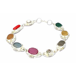 Silver Navratna Bracelet Navratan Bracelet Gemstone Wrist Bracelet