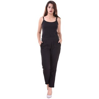 Real Bottom Women Slub Cottton (Black) Solid Pants