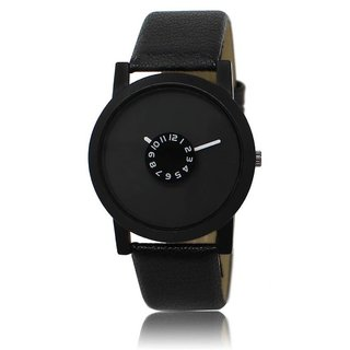 Ismart Round Dail Black Leather StrapMens Quartz Watch For Men