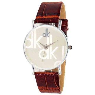 Glamexy Round Dail Maroon Leather StrapMens Quartz Watch For Men