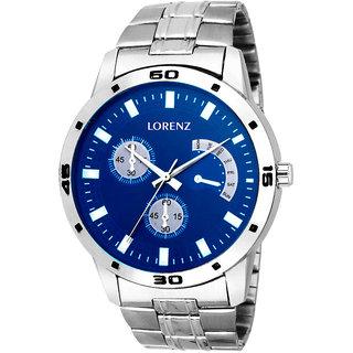 Lorenz Round Dail Silver Metal And Stainless Steel StrapMens Quartz Watch For Men