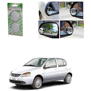 KunjZone Set of 2 Blind Spot Rear View Convex Mirror For Tata Indica