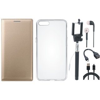 Redmi Y2 Stylish Leather Cover with Silicon Back Cover, Selfie Stick, Earphones, OTG Cable and USB Cable by Vivacious ( Gold )