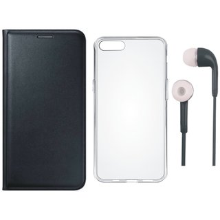 Samsung J6 Leather Flip Cover with Silicon Back Cover and Earphones (Black) by Vivacious