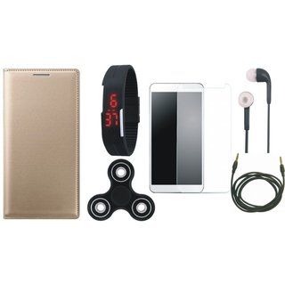 Samsung J6 Premium Leather Cover with Free Spinner, Digital LED Watch, Tempered Glass, Earphones and AUX Cable (Gold ) by Vivacious