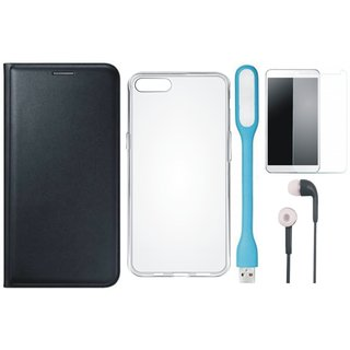 Samsung J6 Leather Flip Cover with Silicon Back Cover, Tempered Glass, Earphones and USB LED Light (Black) by Vivacious