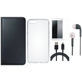 Samsung J6 Leather Flip Cover with Silicon Back Cover, Tempered Glass, Earphones and USB Cable (Black) by Vivacious