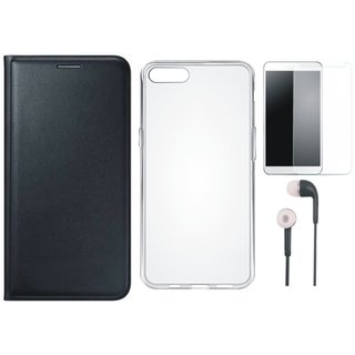 Samsung J6 Leather Flip Cover with Silicon Back Cover, Earphones and Tempered Glass (Black) by Vivacious