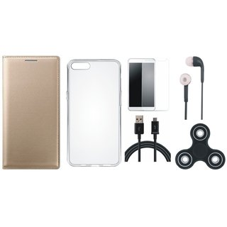 Samsung J6 Premium Leather Cover with Spinner, Silicon Back Cover, Tempered Glass, Earphones and USB Cable (Gold ) by Vivacious
