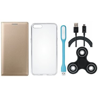 Samsung J6 Premium Leather Cover with Spinner, Silicon Back Cover, USB LED Light and USB Cable (Gold ) by Vivacious
