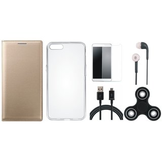 Samsung J6 Premium Leather Cover with Spinner, Silicon Back Cover, Earphones, Tempered Glass and USB Cable (Gold ) by Vivacious