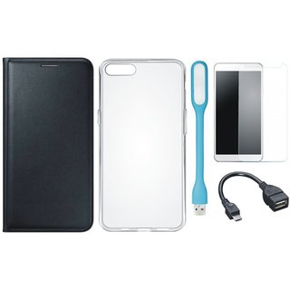 Samsung J6 Leather Flip Cover with Silicon Back Cover, Tempered Glass, USB LED Light and OTG Cable (Black) by Vivacious