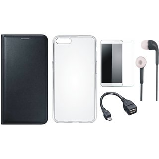 Samsung J6 Leather Flip Cover with Silicon Back Cover, Tempered Glass, Earphones and OTG Cable (Black) by Vivacious