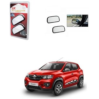 KunjZone 3R Wide Rectangle 3r066 Car Blind Spot Side Rear View Mirror (Set of 2) For Renault Kwid