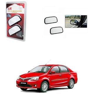 KunjZone 3R Wide Rectangle 3r066 Car Blind Spot Side Rear View Mirror (Set of 2) For Toyota Etios