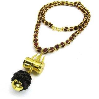 Only4you Brown Shiv Shakti Kavach 5 Mukhi Rudraksha Mala With Shiv Trishul  Damru Brass Necklace Set