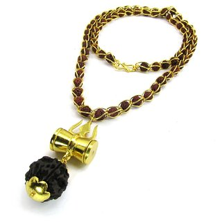 Only4you Brown Shiv Shakti Kavach 5 Mukhi Rudraksha Wood Mala With Shiv Trishul  Damru Brass Necklace Set