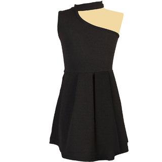 Addyvero Girls One side Shoulder Black Dress