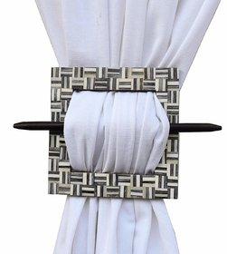 H & W Decorative Handmade Medium Density fibreboard Curtain Tieback Holder Square White Color- Set of 2 (16 x 16 cms)