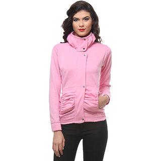 Purys Baby Pink zip up Fleece Casual Jackets For Women