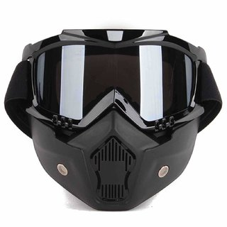 Spidy Moto Storm Trooper Detachable Eye Protector  Nose Face Mask (Black)