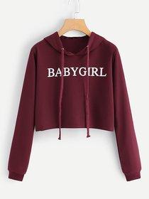 Raabta Fashion Maroon Hooded Sweatshirt For Women
