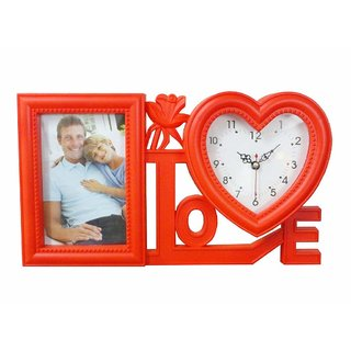 Atorakushon 4 x 6 Photos Frame with loveshep clock Happy moments decoration Valentine, Friendship Day, Gift for Girlf