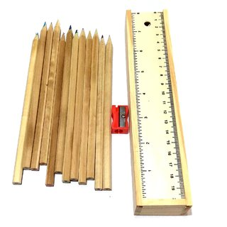 Nawani Wooden Pencil Box with 12 Different Colour Pencils, Ruler and Sharpene