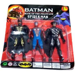 Nawani Set of 3 Superhero Avengers Action Toy-Batman,Spiderman(Multicolor) Size- 12/6 cm