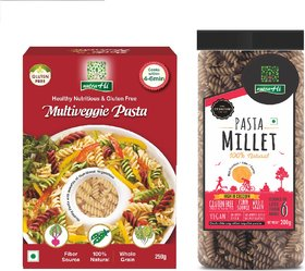 NutraHi Multiveggie Gluten free pasta 250g  + Millet Gluten free pasta 200g (Combo)