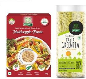 NutraHi Multiveggie Gluten free pasta 250g  + Greenpea Gluten free pasta 200g (Combo)
