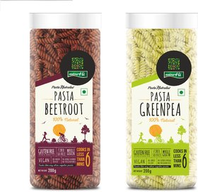 NutraHi Beetroot  Gluten free pasta + Greenpea Gluten free pasta 200g each (Combo)