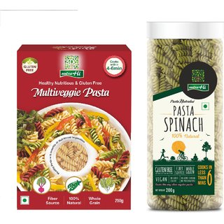 NutraHi Multiveggie Gluten free pasta 250g  + Spinach Gluten free pasta 200g (Combo)