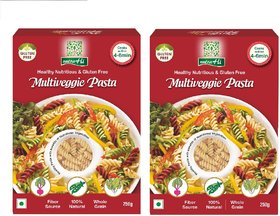 NutraHi Multiveggie Gluten free pasta 250g each ( Pack of 2)
