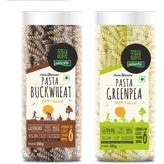 NutraHi Buckwheat Gluten free pasta + Greenpea Gluten free pasta 200g each (Combo)